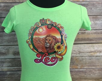 Vintage Leo The Lion Iron On Decal on New Green Medium Short Sleeve Shirt - Retro - One Of A Kind