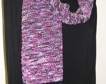 Hand Woven Scarf, Fringed, Handmade Scarf, Soft Scarf,Unique Gift, Shades of Pink and Purple, Statement Accessory