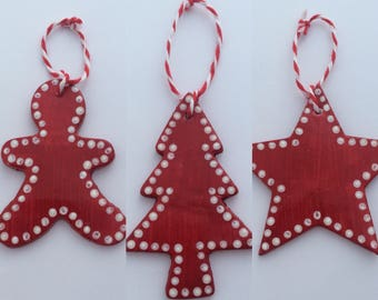 Scandi Tree Decorations - Christmas Decorations - Red Ornaments - Tree Decorations - Gingerbread Man - Star Decoration - Christmas Trees