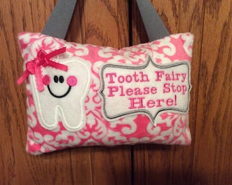 BRAND  NEW FABRIC! Pink Dasmask Personalized Tooth Fairy Pillow