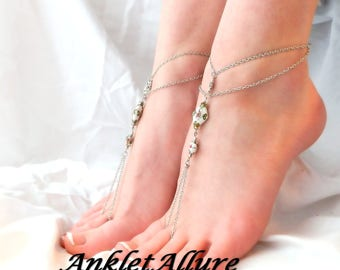 Barefoot Sandals Anklets Ankle Bracelets Footless Sandals White Beach Sandals GUARANTEED Ankle Jewelry