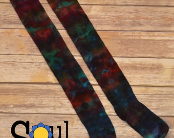 Extra Tall TIE DYE Thigh High Bold Rainbow Socks Handmade OoaK Extra Tall Cotton Sox #1 Made in the USA