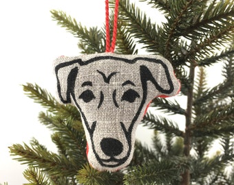 Jack Russell Christmas Tree Decoration - Natural Linen
