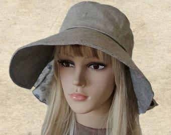 Suns womens hats, Cotton summer hats, Gray fabric sun hat, Brimmed sun hats, Light weight hats, Organic cotton hats, Summer hats lady