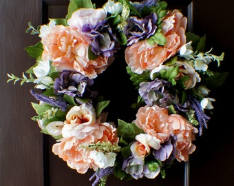 Front Door Wreath, Peony and Roses Wreath, Spring Hydrangea Wreath, Door Wreath, New Home Door Wreath, Hydrangea Wreaths, Ready to Ship