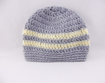 Grey and Yellow Crochet Hat for Boy or Girl