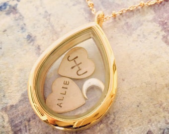 Name Locket necklace, teardrop glass locket, floating locket, Personalized name and date necklace, new mom necklace, Mothers Day necklace
