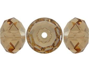 Light Colorado Topaz - Swarovski Crystal - 5040 Faceted Briolette (Rondelle) Bead - 4mm, 6mm, 8mm