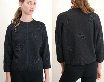 BANFF / BANFF Sweater / Vintage Sweater / 50s Cardigan / 50s Sweater / Crop Sweater / Beaded Sweater / Beaded Cardigan / Wool /Medium Large