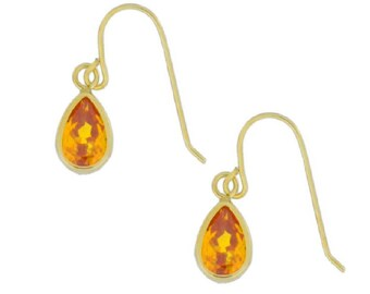 14Kt Yellow Gold Citrine Pear Bezel Dangle Earrings