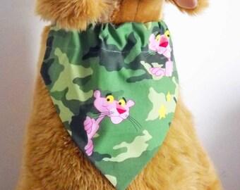 Pet Bandana Camo and Pink Panther Large Camoflage Bandana