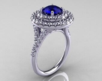 Classic Soleste 14K White Gold 1.0 Ct Blue Sapphire Diamond Ring R236-14KWGDBS