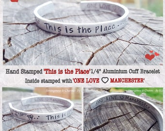 """Hand Stamped 'This is the Place' 1/4"""" Aluminium Cuff Bracelet, Manchester Tribute, Bee Bracelet, Worker Bee,Stamped Metal, Stamped Jewellery"""