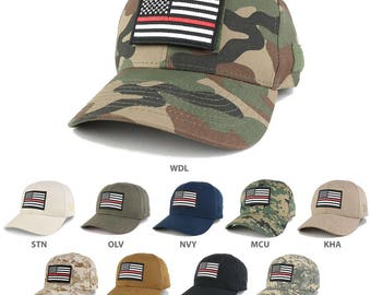 Thin Red Line Tactical Embroidered USA Flag Patch Adjustable Structured Operator Cap (T91-USA-TRL-T75)
