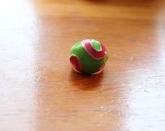 Mod 1960s Pink and Green Enamel Ring