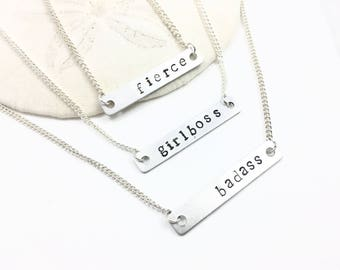 Badass Fierce Girlboss Silver Bar Necklace, Sterling Silver Necklace, Hand-Stamped Necklace, Feminist Necklace