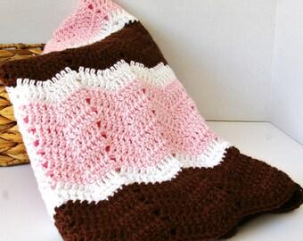Baby Blanket - Baby Afghan - Baby Girl in Pink, Brown, White Baby Afghan Hand Crocheted