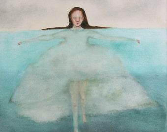"Woman figurative in water wall art/girl in sea ocean art/ woman figure art ""Saving ""Charlotte"" shades of aqua"