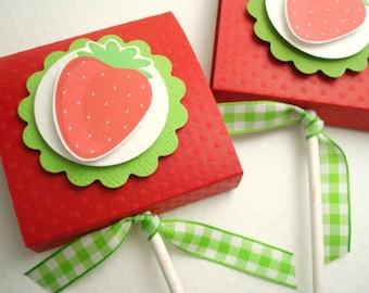 Faveurs de Lollipop nappé fraise rouge, ensemble de dix