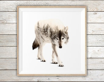 "Printable - Wolf Double Exposure Art Print - Instant Digital Download - Digital Art Print - Available in 12"" x 12"" or 30"" x 30"""
