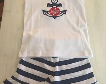 Custom Girls Anchor Clothing Set