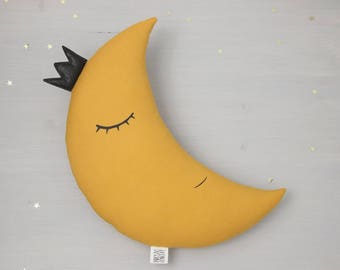 Crescent Moon Pillow With Crown Moon Cushion Kids Pillow mustard Nursery Decor Baby Pillow kids room decor baby shower gift