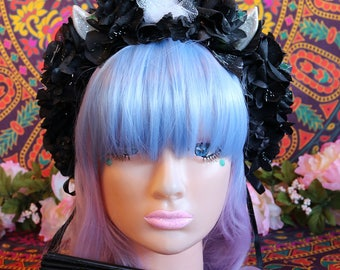 Unicorn/Flower Headband-Headpiece/Crown/Kawaii/Lolita/BoHo-Fairy/Goth (Gothic Goddess)