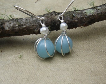 Small Amazonite and Fresh Water Pearl Earrings, Sterling Silver Wire Wrapped Beads Stone Earrings, Amazonite Jewelry, Women, Gift for Her