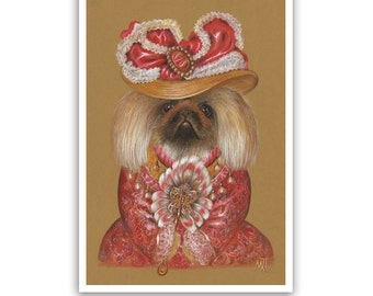 Pekingese. Lady in Red / Pekingese Dog Art Print / Lady Dogs Portraits of Animal Century