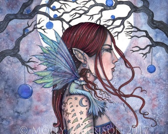 Winter Muse- Original Watercolor and Mixed Media Painting by Molly Harrison - Fairy Art