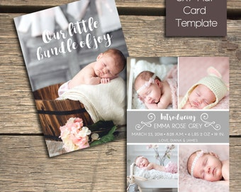 INSTANT DOWNLOAD - Birth Announcement - 5x7 Photoshop Template - B107