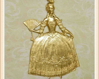 1 pc raw brass french lady, Marie Antoinette, embellishment, finding, vintage,  #4698
