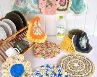 Dishcloths in the Round Dishcloth Crochet Pattern - PDF