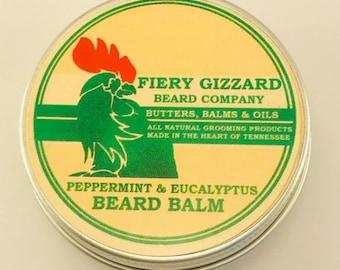 Beard Balm Peppermint & Eucalyptus - Beard Conditioner, Beard grooming balm with Mango butter and Peppermint - beard care - beard styling
