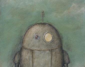 Robot No. 4 - Edwin - robot art print, acrylic painting, giclee print, kids room nursery decor