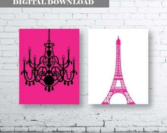 Eiffel Tower Chandelier Prints Set of Two (2)-Instant Download.Paris.French.Wall Art. Hot Pink and Black French Art. Pink Eiffel Tower Print