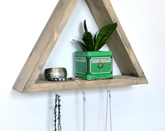 Triangle Shelf with 3 Hooks