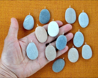 13 Beach Stone Pendants with silver ring on top-Natural Rock from Adriatic Sea-Drilled stones-Rocks for painting-T