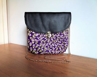 Bag Amy number 4: wax (Ankara) and leather satchel