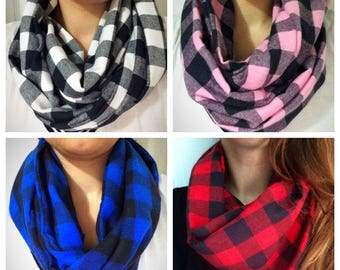 READY to ship infinity scarf - two towers-Tartan/Plaid/lumberjack, black, white/black-pink/black-blue/black-red, cotton flannel fabric