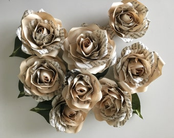 Book Page Flowers - Samantha's Book Flowers - Paper Flowers Customized to Any Color and Book of Your Choice