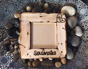 Valentine's Day Soulmates Picture Frame with Initials Carved in a Heart Boyfriend Girlfriend Anniversary Love