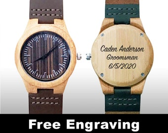 Engraved Wood Watch, Engraved Watch, Groomsman Gifts, Wedding Gift, Wood Watch, Wooden Watch, Brown Leather Strap, Design #4