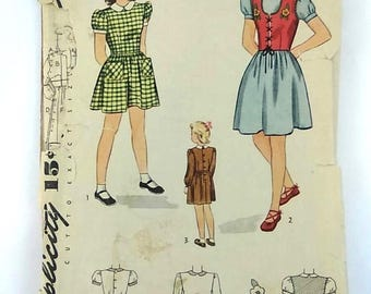 Vintage Simplicity 1940s Sewing Pattern 1398 Girls Dress and Jerkin Size 6