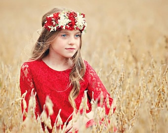 The Chloe - Holiday Red Lace Dress, Flower Girl Lace Dress, for girls, toddlers ages 1T, 2T,3T,4T,5T,6, 7, 8, 9/10