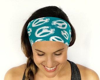 Yoga Headband - Workout Headband - Fitness Headband - Running Headband - Peace Out Print - Boho Wide Headband