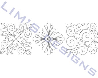 "Three Quilt Patterns N6 machine embroidery designs - 3 sizes 4x4"", 5x5"", 6x6"""