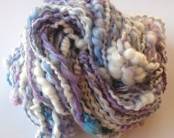 Frosty Morning, hand spun,  coil plyed art yarn