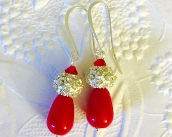 Bridesmaids Earrings, Rich Red Jade Gemstone Teardrops, Rhinestone Encrusted Silver Beads, Swarovski Light Siam Crystals, Silver Plate