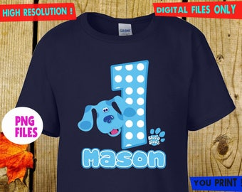Blue Clue, Iron On Transfer, Blue Clue DIY Iron On Transfer, Blue Clue Birthday Shirt DIY, Digital Files, Personalize, PNG Files.